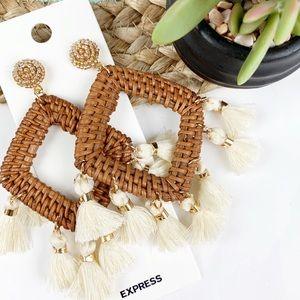 Express Wicker Wrapped Tassel Drop Earrings